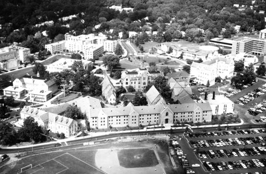 An aerial look at Seton Hall's campus in the mid-1980s. President's Hall and Owen Carroll Field are in the foreground.
