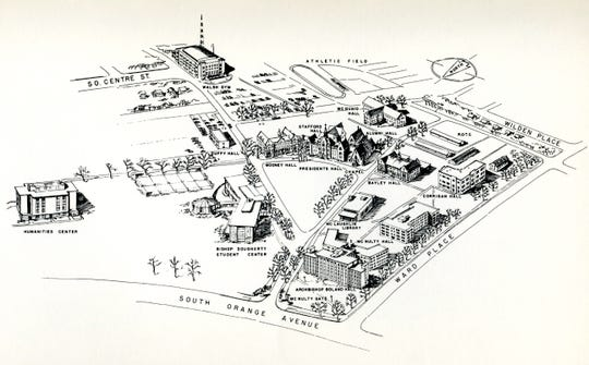 A sketch of Seton Hall's campus in 1968