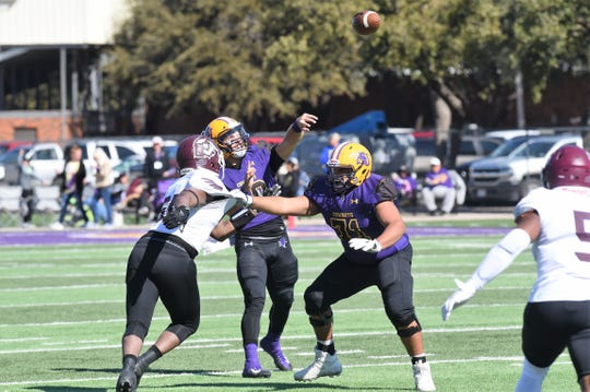 McMurry tries to pressure the Hardin-Simmons quarterback on a pass during their rivalry game Saturday at HSU's Shelton Stadium. The War Hawks lost 91-29.
