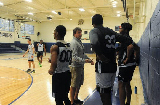 Montreat College head coach Garrett Jones holds practice in McAlister Gym on Oct. 31.