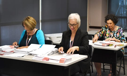 Workers sort mail-in ballots at the Brevard County Supervisor of Elections Office in Viera in advance of the Nov. 5 municipal and special district elections.