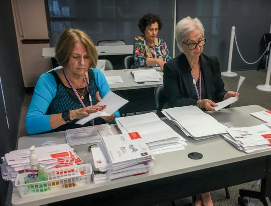 Staffers at Brevard County Supervisor of Elections Office in Viera sort mailed-in ballots for the Nov. 5, 2019, municipal elections.