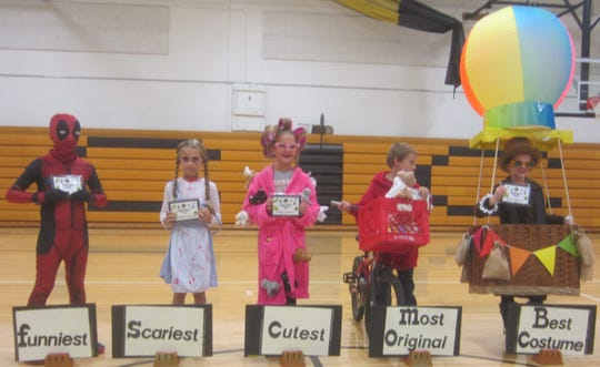 At the Colonel Crawford Lions Club's annual Halloween party, children in fifth grade and younger competed in a costume contest. Third grade winners pictured here, from left, include Carter Cramer, funniest; Adalyn Bond, scariest; Kinley Hoepf, cutest; Luke Skaggs, most original; and Taylor Shields, best costume.