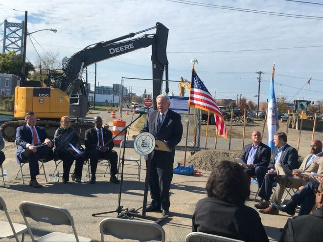 U.S. Senator Bob Menendez talks about infrastructure improvements in North Camden.