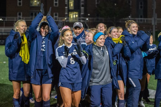 Xavier's women's soccer team celebrates a 2-0 win over Butler on Thursday, Oct. 31, 2019, which clinched the first regular-season conference championship in program history.