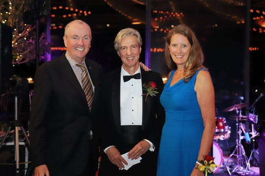 (Left to right) NJ Gov. Philip Murphy; PSEG Chairman, President and CEO Dr. Ralph Izzo; and Thomas Edison State University President Dr. Merodie Hancock recognized community leaders and TESU alumni whose creativity and commitment to innovation continue to fuel the institution's success during Thomas Edison State University Foundation's Grande Ball 2019 on Saturday, Oct. 26, at Jasna Polana in Princeton.