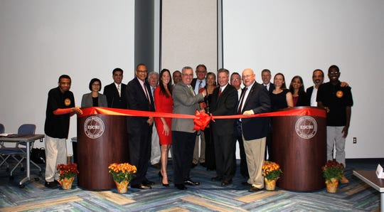 ESCNJ cuts the ribbon on the Future Foundations Academy with state and local officials.