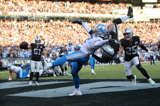 Oakland Raiders safety Karl Joseph breaks up a pass intended for Detroit Lions tight end Logan Thomas on fourth down in the fourth quarter at Oakland Coliseum, Nov. 3, 2019.