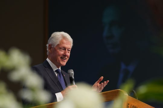 Former president Bill Clinton speaks during the funeral for the late Congressman John Conyers Jr. on Monday, November 4, 2019 at Greater Grace Temple in Detroit.