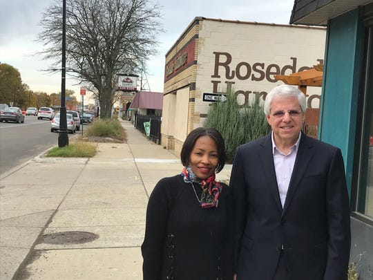 Sherita Smith (left), executive director of the Grandmont Rosedale Development Corp., and Gary Torgow, executive chairman of TCF Bank, on Grand River in northwest Detroit where TCF will be making a major contribution to Detroit's Strategic Neighborhood Fund. Photographed Nov. 4, 2019.