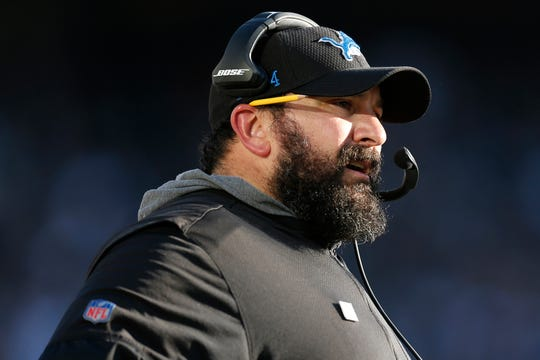 Detroit Lions coach Matt Patricia watches from the sideline during the second half against the Oakland Raiders in Oakland, Calif., Sunday, Nov. 3, 2019.