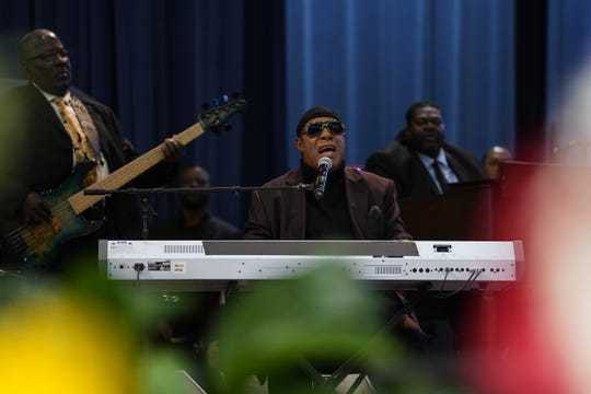 Stevie Wonder performs during the funeral for the late Congressman John Conyers Jr. on Monday, November 4, 2019 at Greater Grace Temple in Detroit.
