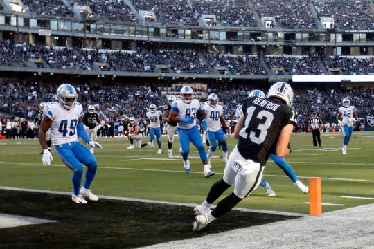Raiders receiver Hunter Renfrow catches the go-ahead touchdown against the Lions during the fourth quarter.