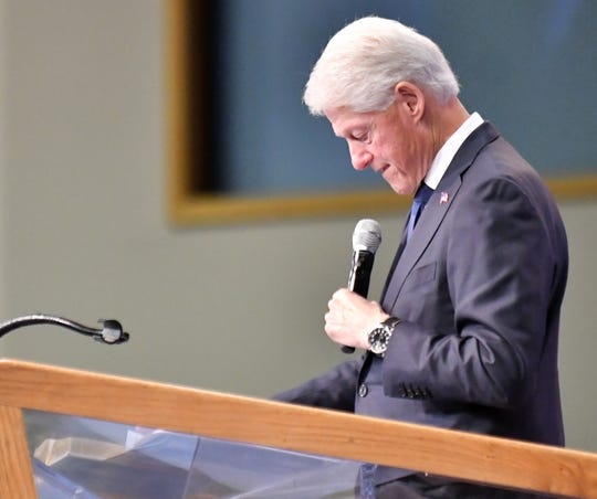 Former President Bill Clinton speaks at the funeral for Congressman John Conyers Jr. at Greater Grace Temple in Detroit.