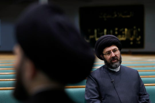 Imam Sayed Hassan Al-Qazwini speaks at the Islamic Institute of America, home of the Al-Hujjah Islamic Seminary, in Dearborn Heights, Mich., Oct. 1, 2019.