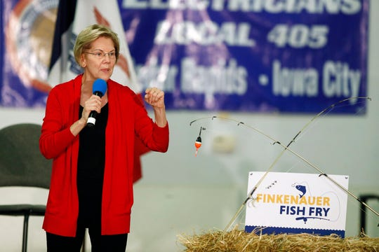 Democratic presidential candidate Sen. Elizabeth Warren speaks during a fund-raising fish fry for U.S. Rep. Abby Finkenauer, D-Iowa, Saturday, Nov. 2, 2019, at Hawkeye Downs Expo Center in Cedar Rapids, Iowa.