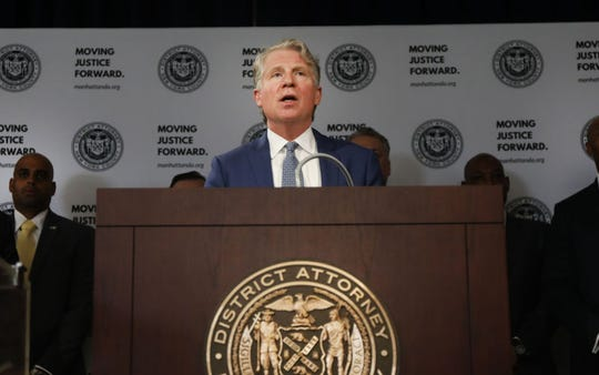Manhattan District Attorney Cyrus Vance Jr. announces the take down of a crime ring run on the dark web in this April 16, 2019, file photo.