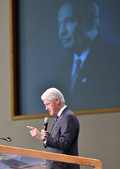 Former President Bill Clinton speaks at the funeral of Congressman John Conyers Jr. at Greater Grace Temple Monday.