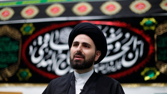 Imam Sayed Mohammad Baqer Al-Qazwini speaks at the Islamic Institute of America, home of the Al-Hujjah Islamic Seminary, in Dearborn Heights, Mich., Oct. 1, 2019.