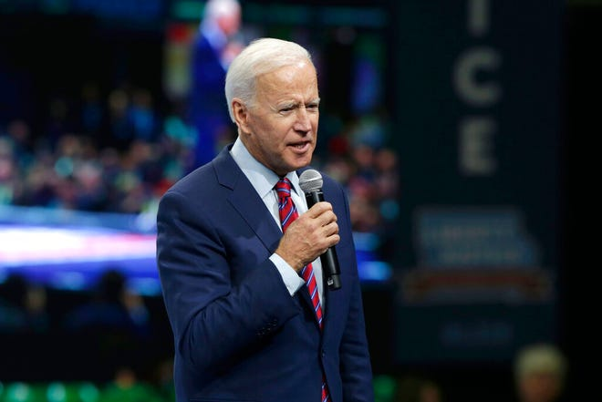 Democratic presidential candidate former Vice President Joe Biden speaks during the Iowa Democratic Party's Liberty and Justice Celebration, Friday, Nov. 1, 2019.