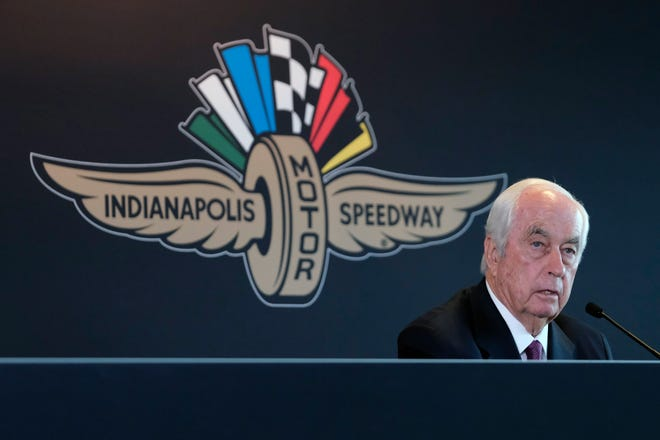 Roger Penske responds to a question about the sale of the Indianapolis Motor Speedway on Monday.