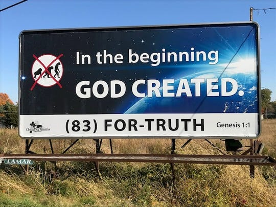 This is one of two such billboards posted on prominent roads entering Tiffin.