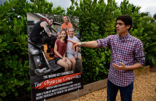 """Director Evan Johnson, talks about his new film """"The Mound Key Chronicles: The Oligarchy Conspiracy"""", Monday, Nov. 4, 2019 at his home in Estero."""