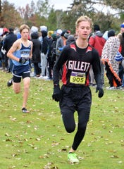 Evan Peterson of Gillett runs in the Division 3 state cross country meet held at the Ridges Golf Course in Wisconsin Rapids on Saturday, Nov. 2.