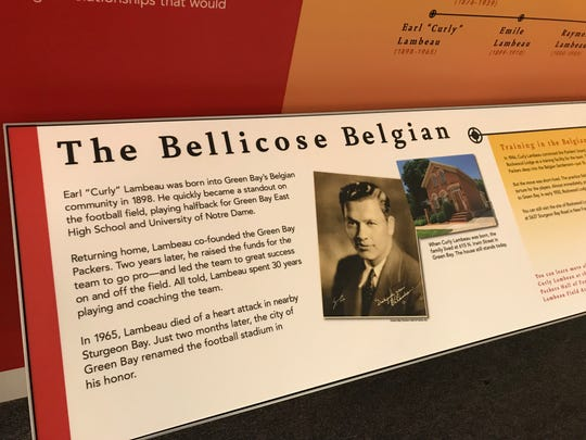 Part of the exhibit celebrating Green Bay Packers founder Curly Lambeau's Belgian roots at the Belgian Heritage Center in Brussels, Wisconsin.