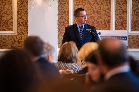 Robert Whatley, a candidate for Greenville County Sheriff, speaks at the Poinsett Club's First Monday event Monday, November 4, 2019.