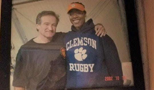 Tracey Cooper-Harris was wearing her Clemson Rugby hoodie when she met Robin Williams at a base in Kyrgyzstan in 2002. Cooper-Harris said the late-comedian did a stand-up set and took pictures with every service member who attended the event.