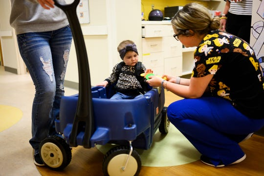 Maci Hyman, 1, interacts with hospital staff before an appointment at the Prisma Health Pediatric Hematology Oncology Center Monday, Nov. 4, 2019.