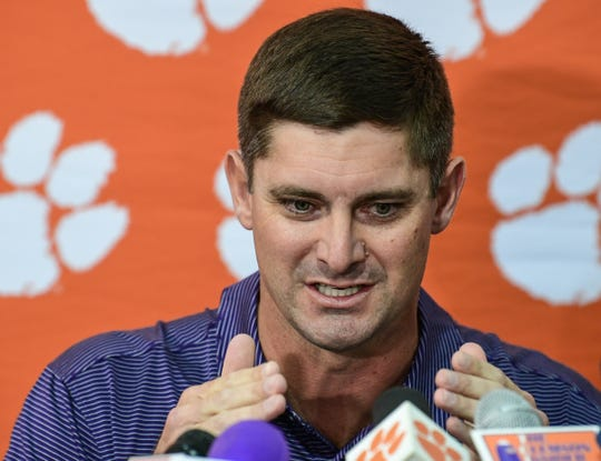 Clemson co-offensive coordinator Jeff Scott talks about staying focused on the next game during media interview at the Poe Indoor facility in Clemson, South Carolina Monday, November 4, 2019.