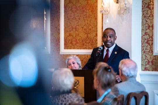 Darius Hall, a candidate for Greenville County Sheriff, speaks at the Poinsett Club's First Monday event Monday, November 4, 2019.