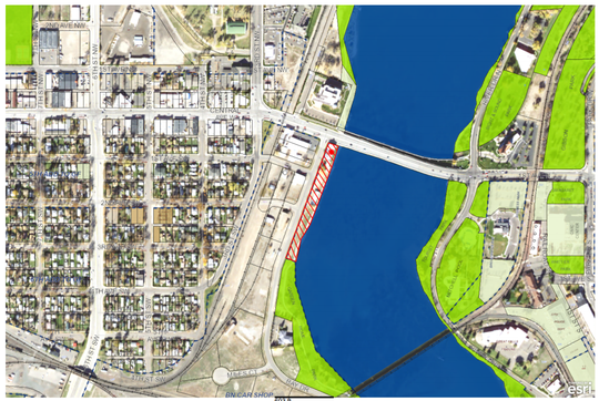 The red lines indicate the location of the Buffalo Crossing development.
