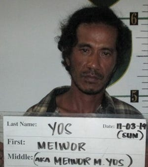 Meiwor Yos is charged with four counts of criminal mischief as a third-degree felony, disorderly conduct as a petty misdemeanor and public drunkenness.