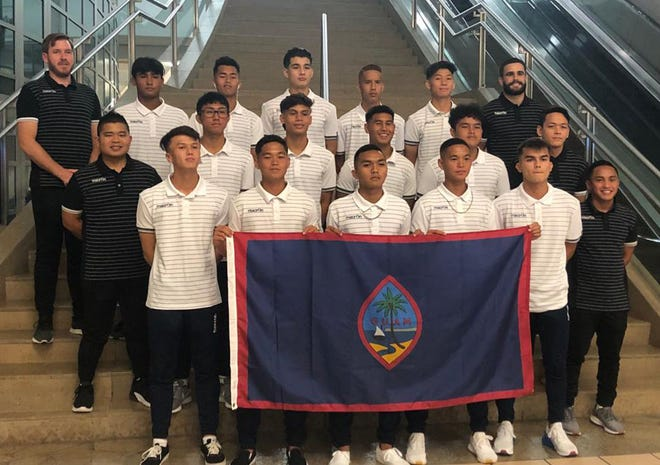 "The Guam-based players and staff called up for the Guam's U19 National Team pose for a group photo before traveling to Vietnam for the AFC U19 Championship Qualifier. In the photo are, front row from left to right: Alexander Stenson, Mark Iseke, Shaun-Paul Martinez, Matt Iseke, Noah Mueller, and Assistant Coach Bryan Cadiz. In the second row, from left to right, are Team Manager Julius Campos, Christian Kido, Morgan McKenna, Micah Hennegan, Allan Aranas, and Equipment Manager Ryan Quitugua. In the back row, from left to right, are: Head Coach Karl Dodd, Mason Bonner, Michael Castaneda, Taiga Simon, Emilio Babauta, Kyle Halehale, and Assistant Coach Michael Crowley. Other players called up to the team traveling from the United States are Hoben Chargualaf, Josiah Duenas, Ethan Elwell, Kris Fernandez, Graysen Garber, Seth Garber, Jacob McDonald, Anthony Quidachay, and Michael Ungacta. Included in the traveling staff are Head of Delegation and General Secretary of the Guam Football Association Marvin ""Ike"" Iseke and Physiotherapist Adam Crump."