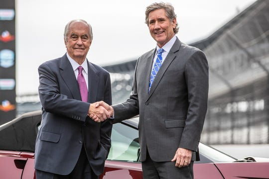 Roger Penske, chairman and founder of Penske Corporation, and Tony George, chairman of Hulman & Company, pose for a portrait after a press conference detailing the purchase of Hulman & Company, which includes Indianapolis Motor Speedway, the NTT IndyCar Series and Indianapolis Motor Speedway Productions subsidiaries, by Penske Entertainment Corp., a subsidiary of Penske Corporation on Monday, Nov. 4, 2019.
