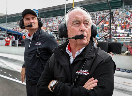 Team owner Roger Penske and Tim Cindric,left, on qualification day for the Indianapolis 500 at the Indianapolis Motor Speedway on, May 19, 2018.