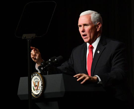 Vice President Mike Pence speaks during Mississippi Republican gubernatorial candidate Tate Reeves' rally at the Mississippi Gulf Coast Coliseum in Biloxi, Miss. Monday, Nov. 4, 2019.