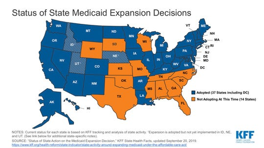 This map shows Medicaid expansion in the U.S.