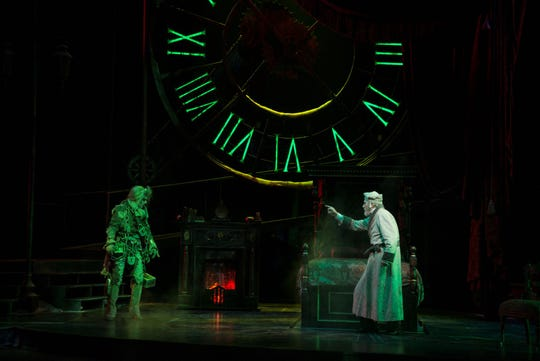 """David Marley and Jed Diamond reprise their roles as Marley's ghost and Ebenezer Scrooge in the Clarence Brown Theatre's production of """"A Christmas Carol."""""""
