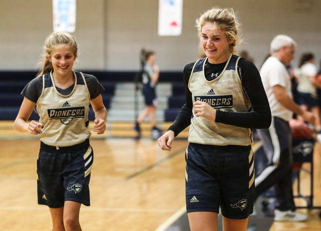 Providence's Kaylee Kaiser, left, and Natalie Boesing will be helping lead the Lady Pioneers for the 2019-2020 girls basketball season.