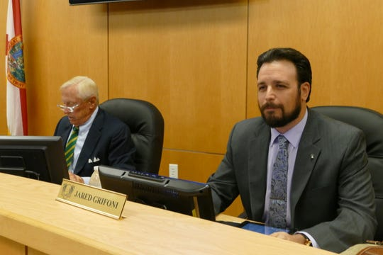 Marco Island City Council elected Jared Grifoni as its vice-chair on Nov. 4. In the picture, Grifoni looks towards the public after exchanging seats with Victor Rios, former vice-chair. Erik Brechnitz (left) was re-elected as chair.