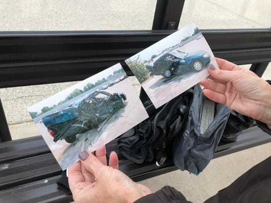 Cheryl Rath shares photos of a devastating car accident she was in that ultimately prompted her to start riding the bus to work. The driver's side of Rath's car was the only part of the vehicle that wasn't crushed.