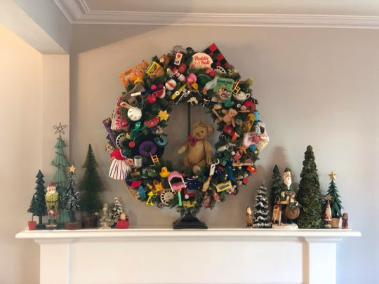 Wendy Borchert was feeling nostalgic when she made a wreath of toys from Christmases past.
