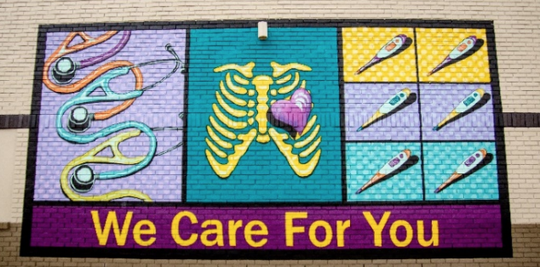 The design for a proposed mural on the side of the former Judge Beans Barbecue building, now a Walk-InUrgent Care facility on Hillsboro Road.
