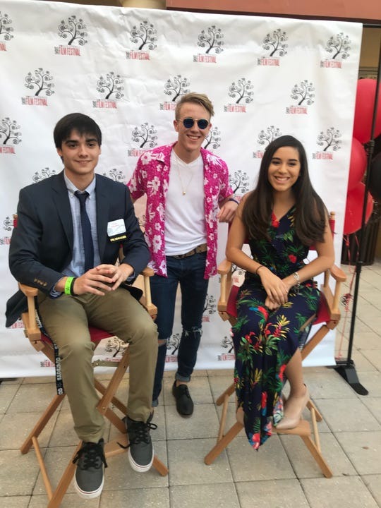 """Filmmaker Evan Johnston (left) and actors from his film """"Through Kate's Eyes"""" pose for a photo at the 2018 Bonita Springs Film Festival gala."""