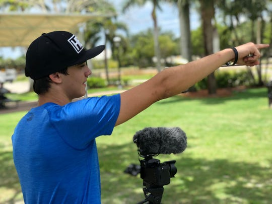 """Evan Johnston gives directions during the making of the film """"Through Kate's Eyes"""" in 2018."""