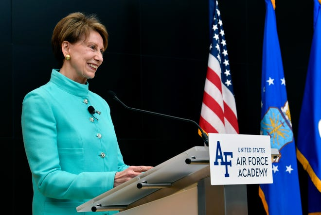 Newly sworn Secretary of the Air Force Barbara Barrett thanks family, friends and colleagues during her ceremonial swear-in as the 25th Air Force Secretary at the Air Force Academy, Colorado Springs, Colorado, Nov. 2, 2019.
